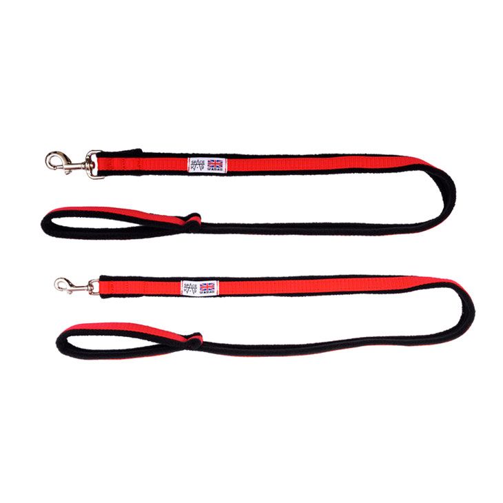 1 metre fleece dog lead red and black