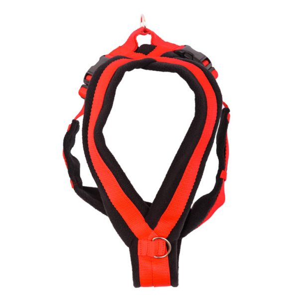 k9 fleece harness with ring red and black